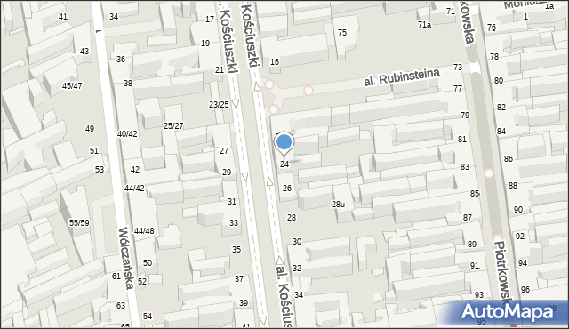 Łódź, Aleja Kościuszki Tadeusza, gen., 24, mapa Łodzi