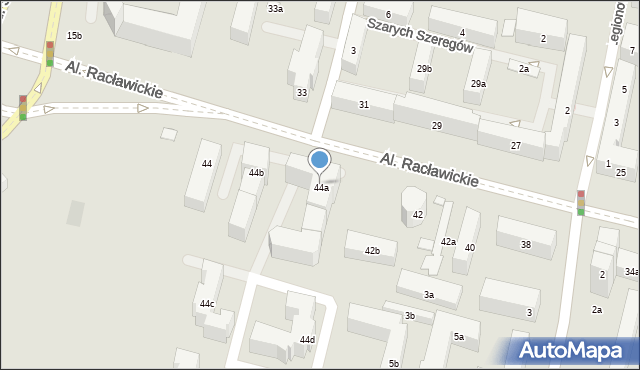Lublin, Aleje Racławickie, 44a, mapa Lublina