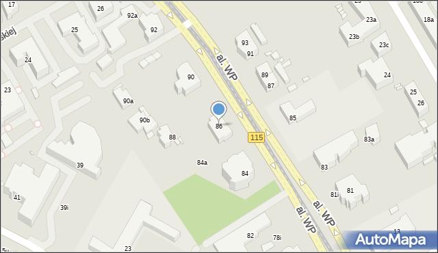 Szczecin, Aleja Wojska Polskiego, 86, mapa Szczecina