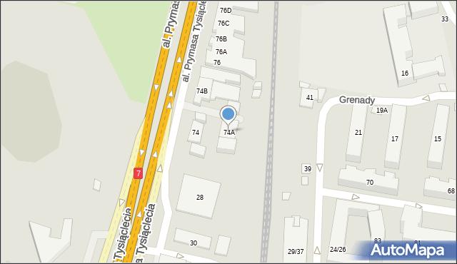 Warszawa, Aleja Prymasa Tysiąclecia, 74A, mapa Warszawy