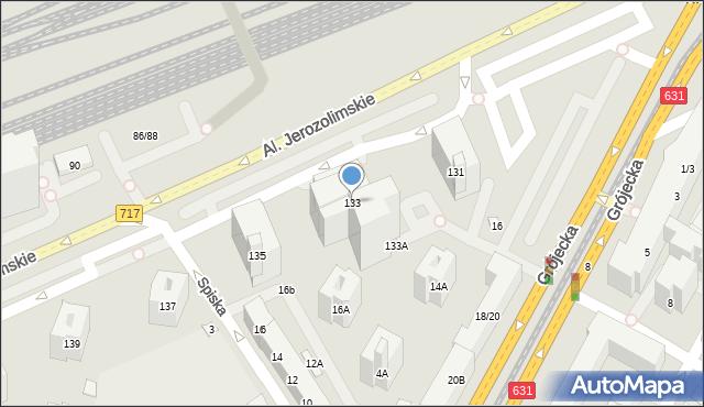 Warszawa, Aleje Jerozolimskie, 133, mapa Warszawy