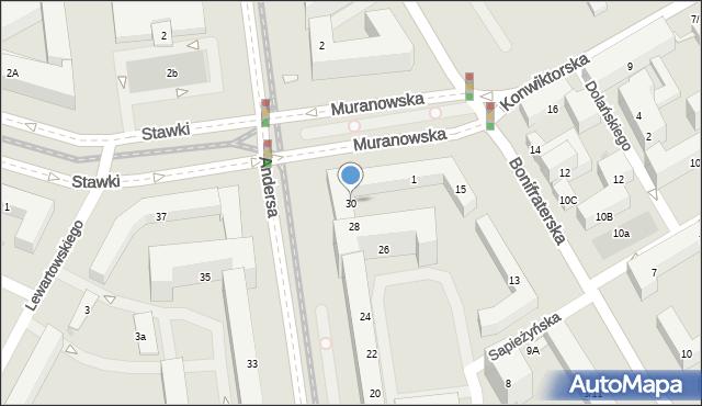 Warszawa, Andersa Władysława, gen., 30, mapa Warszawy