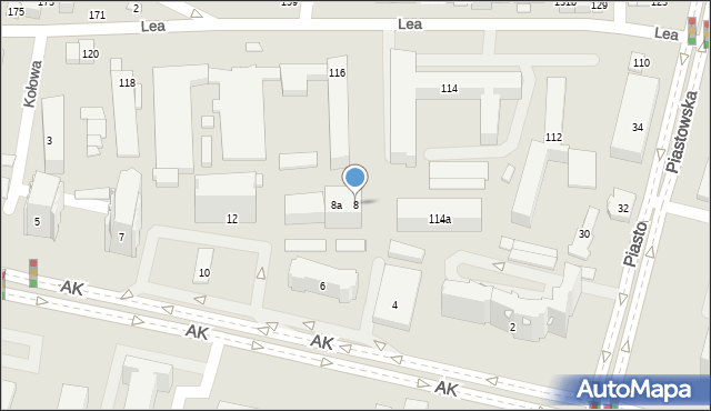 Kraków, Armii Krajowej, 8, mapa Krakowa