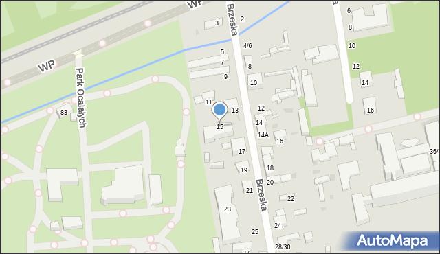 Łódź, Brzeska, 15, mapa Łodzi