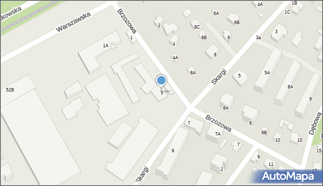 Milanówek, Brzozowa, 3, mapa Milanówek