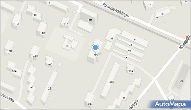 Warszawa, Broniewskiego Władysława, 9A, mapa Warszawy