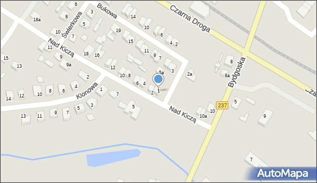 Tuchola, Bukowa, 1, mapa Tuchola