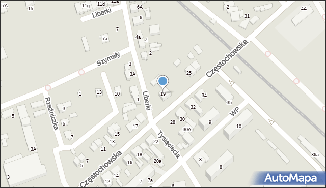 Lubliniec, Częstochowska, 19, mapa Lubliniec