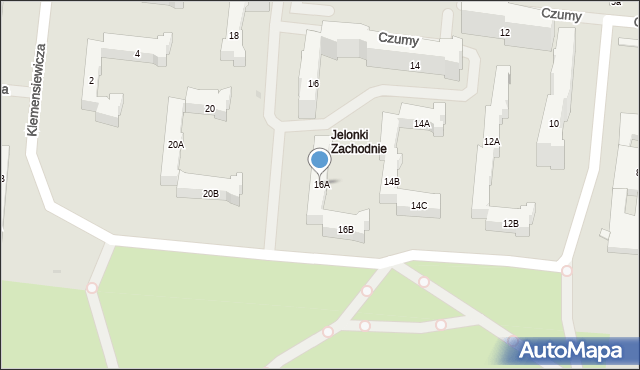 Warszawa, Czumy Waleriana, 16A, mapa Warszawy