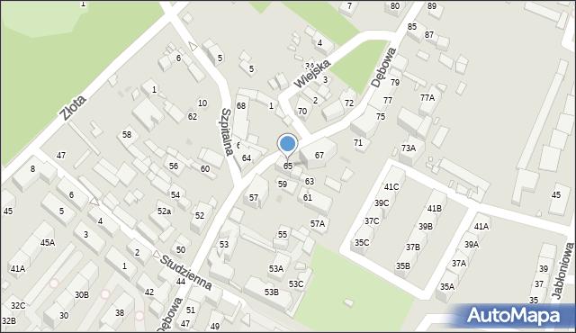 Katowice, Dębowa, 65, mapa Katowic