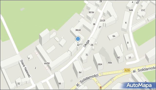 Warszawa, Długa, 42, mapa Warszawy