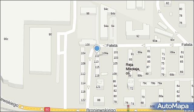 Toruń, Fałata J., 111, mapa Torunia