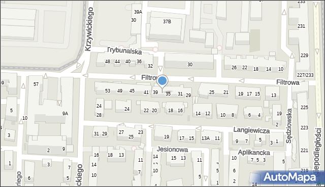 Warszawa, Filtrowa, 37, mapa Warszawy