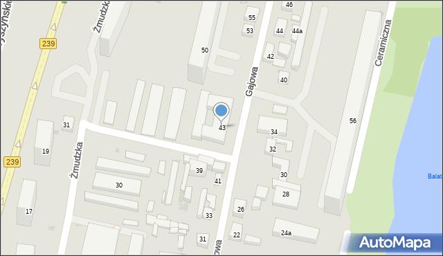 Bydgoszcz, Gajowa, 43, mapa Bydgoszczy