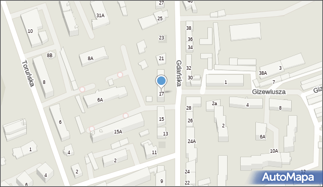 Ełk, Gdańska, 17, mapa Ełku