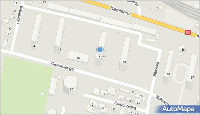 Bydgoszcz, Głowackiego Bartosza, 51, mapa Bydgoszczy