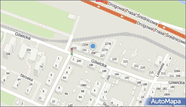 Katowice, Gliwicka, 229, mapa Katowic