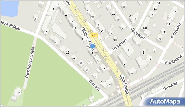 Warszawa, Globusowa, 7, mapa Warszawy