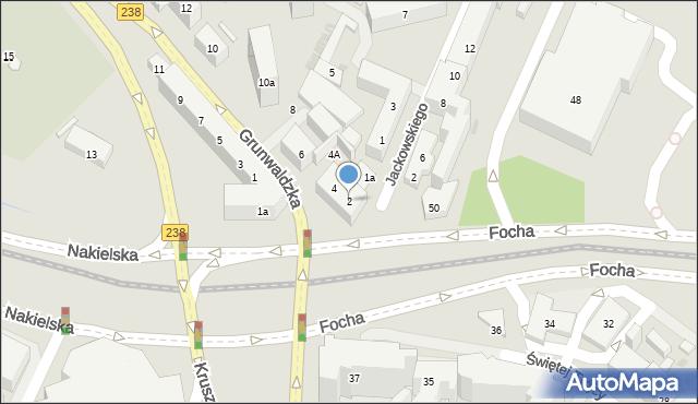 Bydgoszcz, Grunwaldzka, 2, mapa Bydgoszczy