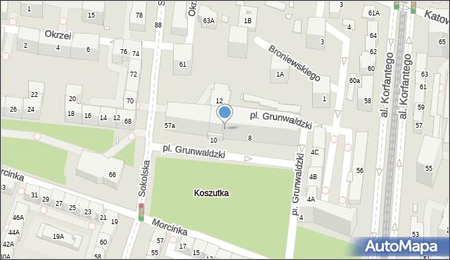 Katowice, Grunwaldzki, 8-10, mapa Katowic