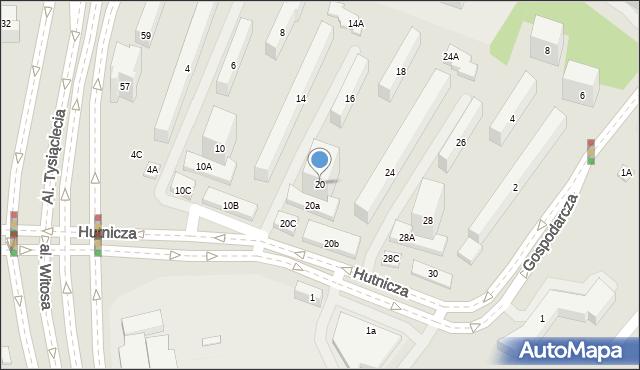 Lublin, Hutnicza, 20, mapa Lublina