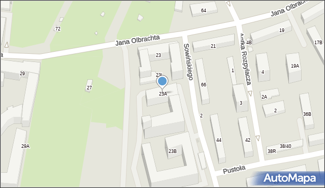 Warszawa, Jana Olbrachta, 23a, mapa Warszawy