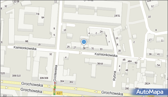 Warszawa, Kamionkowska, 29, mapa Warszawy