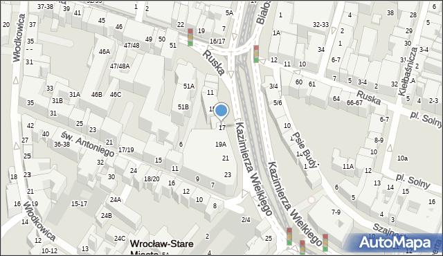 Wrocław, Kazimierza Wielkiego, 17, mapa Wrocławia