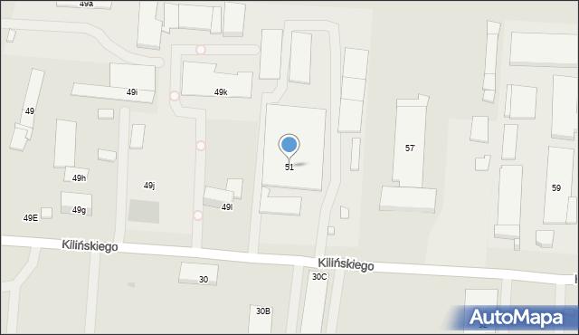 Ostrowiec Świętokrzyski, Kilińskiego Jana, płk., 51, mapa Ostrowiec Świętokrzyski