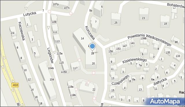 Gdynia, Korczaka Janusza, 18, mapa Gdyni