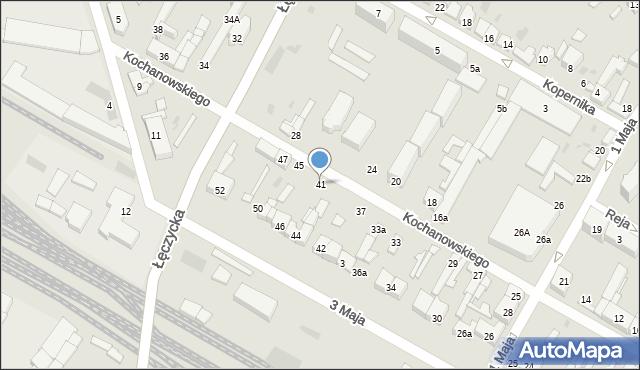 Kutno, Kochanowskiego, 41, mapa Kutno