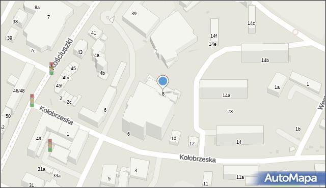 Olsztyn, Kołobrzeska, 8, mapa Olsztyna
