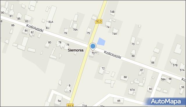 Siemonia, Kościuszki Tadeusza, gen., 73, mapa Siemonia