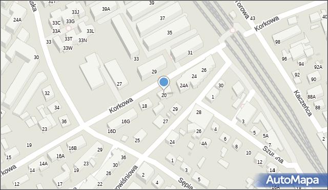 Warszawa, Korkowa, 20, mapa Warszawy