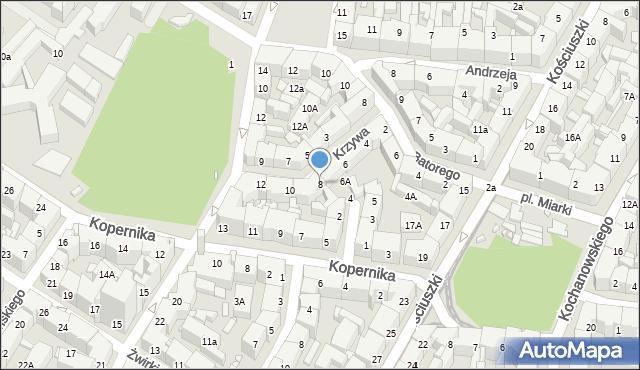 Katowice, Krzywa, 8, mapa Katowic