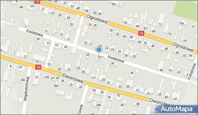 Koronowo, Kwiatowa, 22, mapa Koronowo