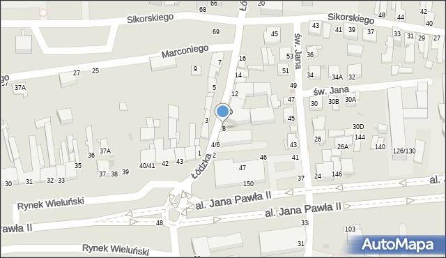 Częstochowa, Łódzka, 8, mapa Częstochowy