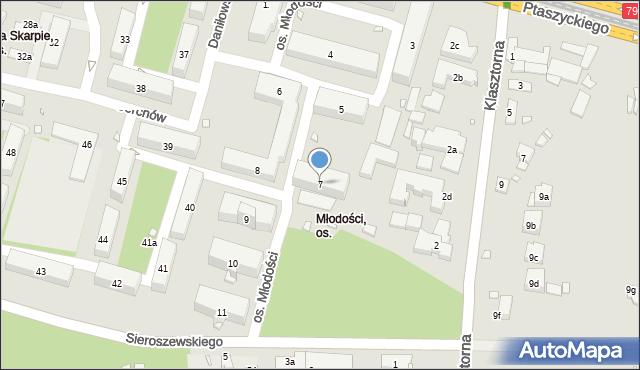 Kraków, Młodości, 7, mapa Krakowa
