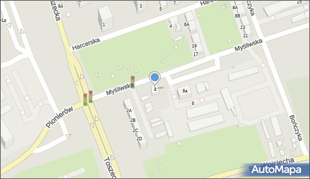 Gliwice, Myśliwska, 4, mapa Gliwic