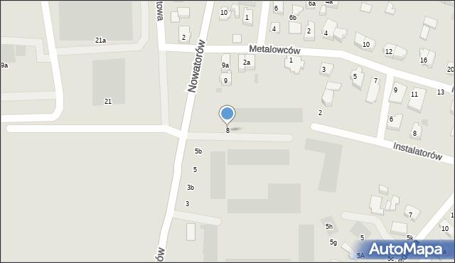 Gdańsk, Nowatorów, 8, mapa Gdańska