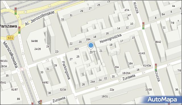 Warszawa, Nowogrodzka, 23, mapa Warszawy