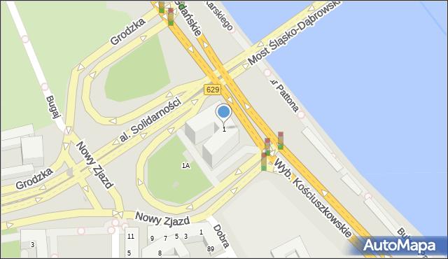 Warszawa, Nowy Zjazd, 1, mapa Warszawy