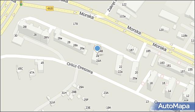 Gdynia, Orlicz-Dreszera, gen., 24, mapa Gdyni