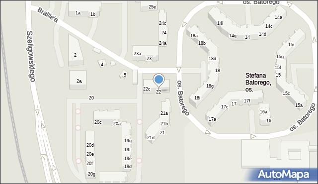 Poznań, Osiedle Stefana Batorego, 22, mapa Poznania