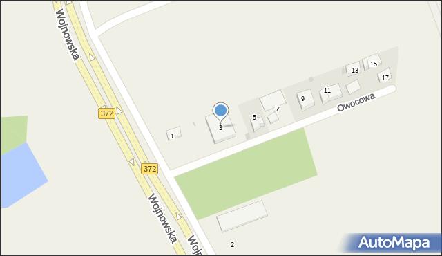Łany, Owocowa, 3, mapa Łany