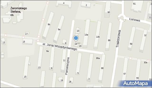 Łódź, Parcelacyjna, 14, mapa Łodzi