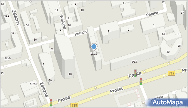 Warszawa, Pereca Icchaka Lejba, 13/19, mapa Warszawy