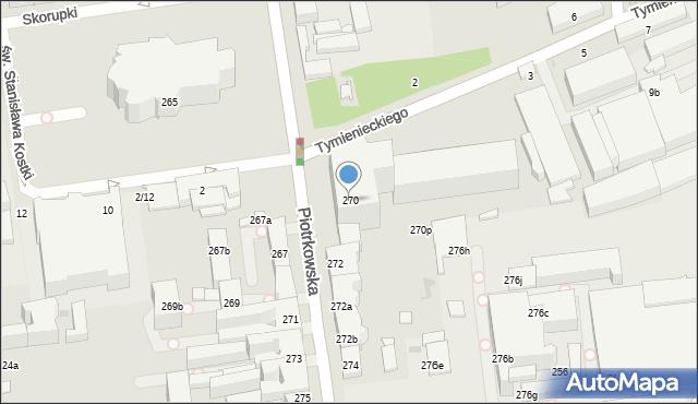 Łódź, Piotrkowska, 270, mapa Łodzi