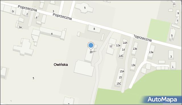 Owińska, Poprzeczna, 10, mapa Owińska