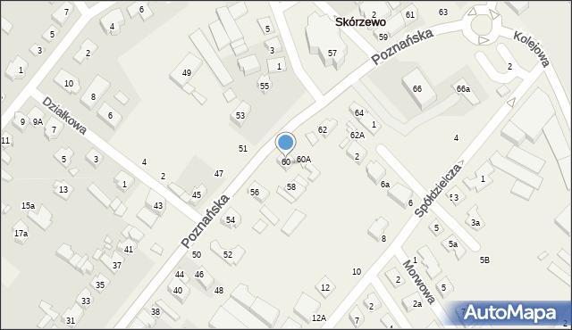 Skórzewo, Poznańska, 60, mapa Skórzewo